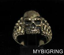 BRONZE MEN'S BIKER SKULL RING JACK THE RIPPER OUTLAW RENEGADE ANTIQUED ANY SIZE