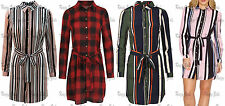 New Womens Ladies Multicoloured Striped Print Belted Collared Long Shirt Dress