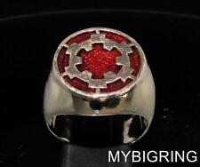 BRONZE MENS SIGNET RING IMPERIAL COAT OF ARMS STAR WARS DARK RED ENAMEL ANY SIZE