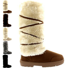 Ladies Tall Knee High Fur Lined Snow Fixed Lace Wrap Winter Rain Boots All Sizes