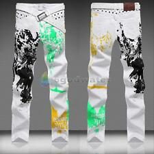 Mens Designed Straight Jeans Fashion Slim Painting Print Pants Clubwear Trousers