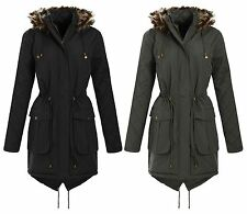 Womens Fur Hooded Fish Tail Diamond Quilted Sleeve Parka Coat Jacket 18-24