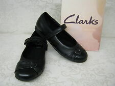 SALE Clarks Girls Dolly Heart Black Leather School Shoes
