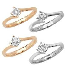 9ct Gold Diamond Cluster Ring with Plain Shoulders (Twist) - Finger Size H to Q