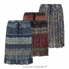 Womens Ladies Summer Retro Gypsy Cotton Vintage Frill Ruffle Skirt 8-16