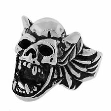 Stainless Steel Silver-Tone Gothic Skull Harpy Statement Mens Ring Band