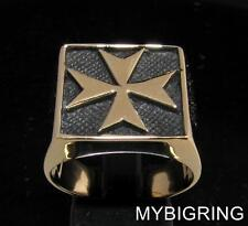 SQUARE BRONZE MEN'S SIGNET RING MALTESE CROSS MEDIEVAL KNIGHT ANTIQUED ANY SIZE
