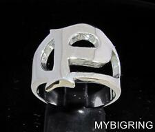 STERLING SILVER MEN'S INITIAL RING ONE 1 BOLD CAPITAL BLOCK LETTER P ANY SIZE