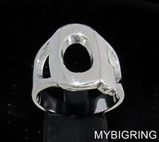 STERLING SILVER MEN'S INITIAL RING ONE 1 BOLD CAPITAL BLOCK LETTER Q ANY SIZE