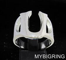 STERLING SILVER MEN'S INITIAL RING ONE 1 BOLD CAPITAL BLOCK LETTER U ANY SIZE