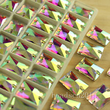 50 clear AB rectangle foiled flatback crystal sew on faceted rhinestones bead Pk