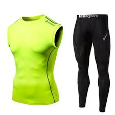 Mens Compression YellowGreen Sleeveless Black Pants Set Baselayer Skin Fitness