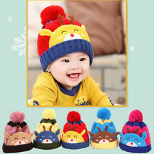2015 Cute Winter Baby Kids Boys Girls Warm Fleece Hat Earflap Knitted Wool Caps
