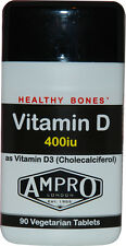 Ampro Vitamin D 400iu as Vitamin D3 - Healthy Bones / Immune Support 90 Tablets