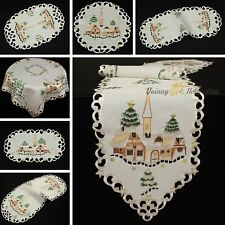 Winter Landscape Tablecloth Doily Table runner Ivory/Cream Brown Gold Embroidery