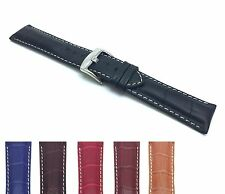Black Leather Alligator Watch Strap Band 18 - 26mm For Tag Breitling Fossil more