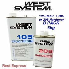 West System EPOXY RESIN 105/205 or 206 Slow Hardener B PACK SIZE 6kg (5kg + 1kg)