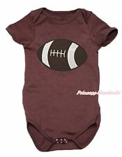 Brown Rugby Ball Sports One Piece Baby Girl Bodysuit Jumpsuit Romper NB-18Month