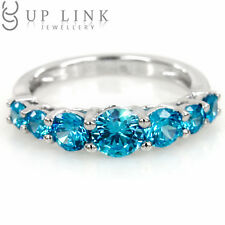 Blue Cubic Zirconia Sterling Silver White Gold Plated Women Band Wedding Ring
