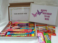 Retro Sweets Gift Box Wife Birthday FREE personalisation  (45 sweets)