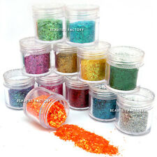 12 Jars x Nail Art Glitter Powder Iced Mylar Sheet Crushed Shell Star Heart 10g