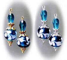 Earrings, Teal Blue Green, lampwork and crystal, clip on or pierced fittings