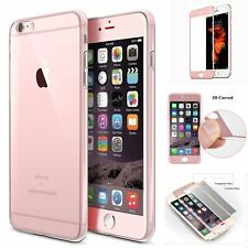 Full Body Clear Silicone Case Tempered Glass Screen Protector For iPhone 6s Plus