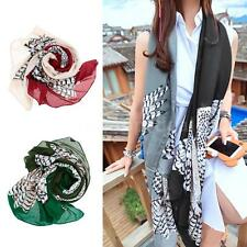 Womens Lady Long Soft Cotton Voile Print Scarves Shawl Wrap Scarf Owl Print I9HN