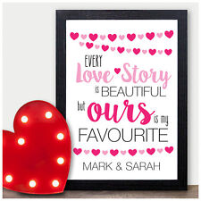 Love Story Quote - PERSONALISED Wedding Anniversary Gift - 1st First Present