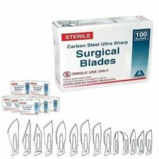 Disposable Scalpel Surgical Blades, Sterile, Carbon Steel, Pkt of 100 pc