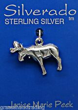 MOOSE 3D Solid Sterling Silver Pendant Charm w/Options 2174