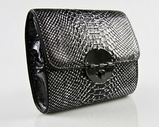 MIMCO Square Tux Clutch Black & Silver Wrinkle Leather BNWD RRP$279 Evening Bag