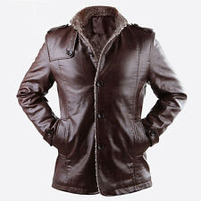 Mens warm winter spring PU leather fur lining outwear jacket coat slim coat