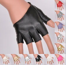 Fashion Women Half Finger PU Leather Gloves Sexy Fingerless Driving Show Gloves