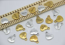 5/20/100pcs Chic Family Peach heart Jewelry Finding Craft Charms Pendant 18x14mm