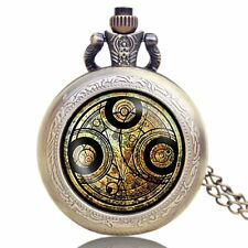 Full Hunter Doctor Who Time Lord Seal Necklace Pocket Watch Quartz Bronze Chain