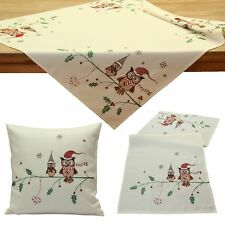 Cute Owl Christmas Table Cloth Cover Runner Cushion Cover Ivory Red Linen-look