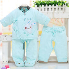3pcs Baby Girl Kids Newborn Infant Cute Rabbit Winter Warm Cotton Clothes Outfit