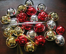8 Christmas Jingle Bell Baubles Red White Silver Tree Star Decoration Craft