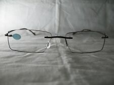 Insight Bronzetone Mens Rimless Reading Glasses w/ Case +1.50 1.75 2.00