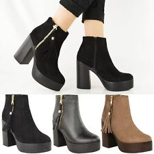NEW WOMENS LADIES CHUNKY CHELSEA ANKLE BOOTS HIGH BLOCK HEEL TASSEL PLATFORM