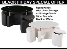 Designer Round Glass Coffee Tea Table & 4 PU Leather Seater Storage Stools