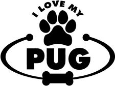 Pug Dog Paw Bone I Love My - Car Window Laptop Vinyl Decal Sticker Animal