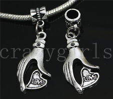 6/30/100pcs Tibetan Silver Hand Love Bulk Dangle European DIY Charms Bracelet