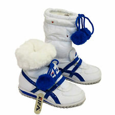 Girls BOYS White+Blue Fur-Lined PULL-ON TRAINNERS Warm WINTER Ankle BOOT UK 10-3