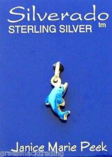 DOLPHIN BLUE ENAMEL COLOR Solid Sterling Silver Pendant - Charm w/Options 2010