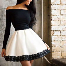 Sexy Lace Women Long Sleeve Cocktail Evening Party Off Shoulder Short Mini Dress