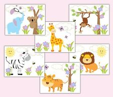 Safari Animal Wall Art Prints Jungle Zoo Baby Girl Nursery Elephant Monkey Decor