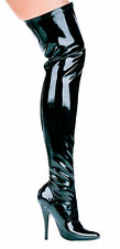 "ELLIE 511-ALLY Women's 5"" Stiletto Heel Thigh High Stretch Boot Pointy Toe"