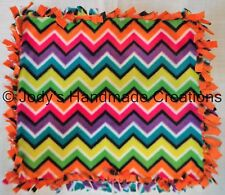 HANDMADE BABY / PET MINI FLEECE TIED SECURITY BLANKET - RAINBOW CHEVRON 13 X 15